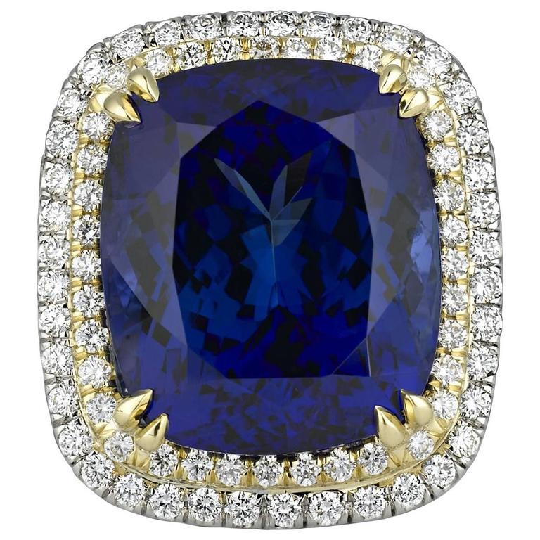 22.98 Carat Cushion-Cut Untreated Tanzanite Diamond Gold Ring