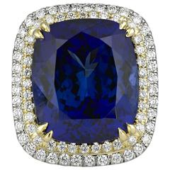 22.98 Carat Cushion-Cut Untreated Tanzanite Diamond Gold Ring