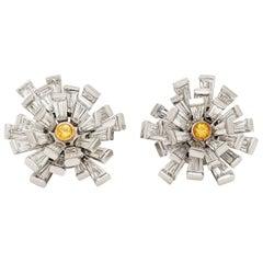 Vivid Yellow Diamond Gold Platinum Cluster Earrings