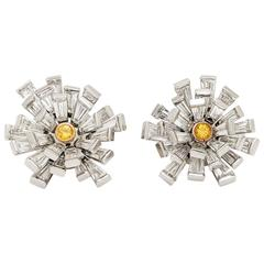 Vivid Yellow Diamond Gold Platinum Cluster Earrings