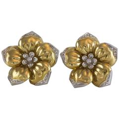 Wempe Diamond Pearl Gold Flower Earrings