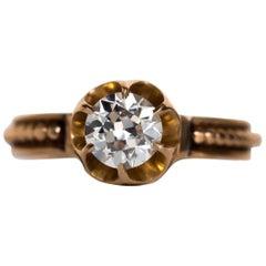 1890s Victorian .91 Carat Diamond Gold Buttercup Setting Ring
