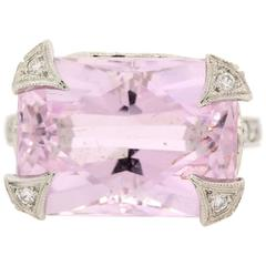 Cathy Waterman Kunzite  Diamond Platinum Ring