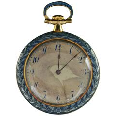 1930s Blue Enamel Gold Pocket Watch