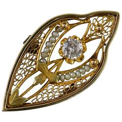 Victorian Seed Pearl Ornate Gold Filigree Pin