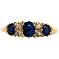 1880s Victorian Sapphire Diamond Gold Engagement Ring
