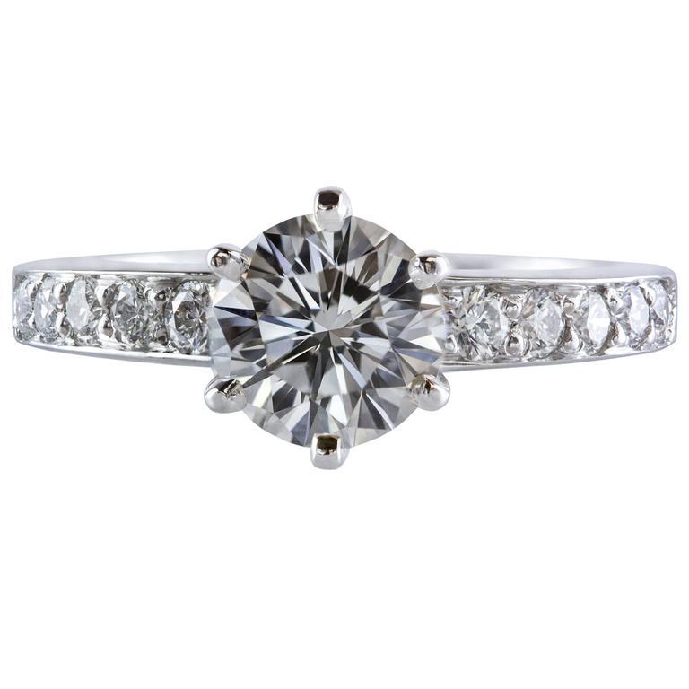 Tiffany & Co 1.01 Carat Round Diamond Platinum Engagement Solitaire Ring