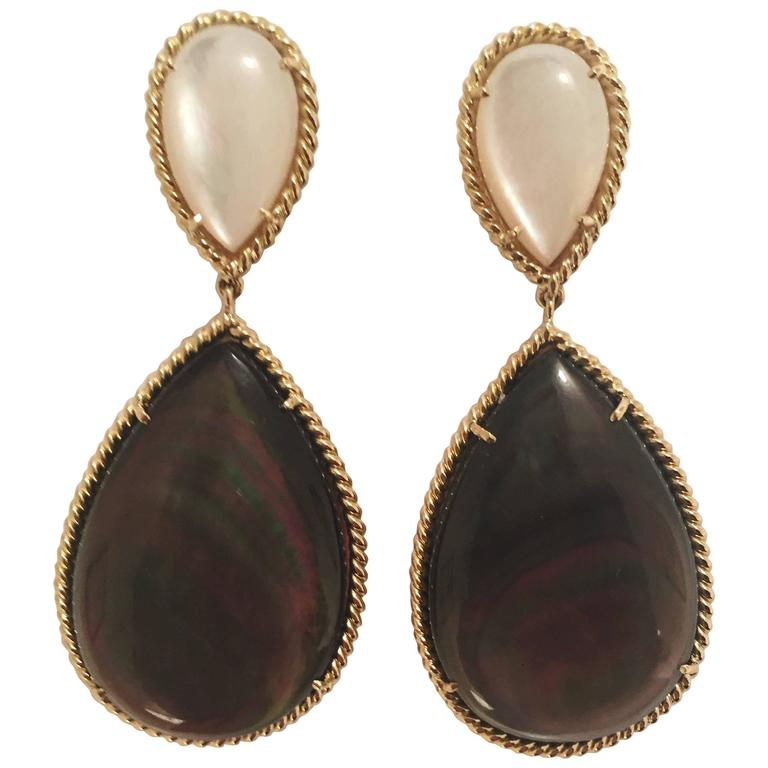 Mother of Pearl Abalone Drop Twisted Gold Border Earrings