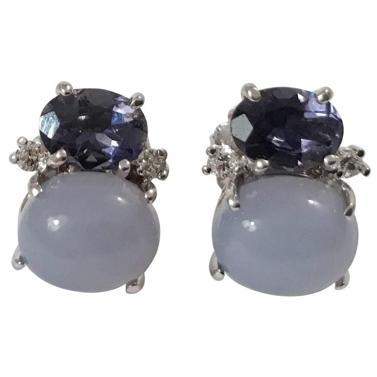 Mini GUM DROP™ Iolite and Cabochon Chalcedony and Diamond Earrings