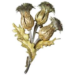 Mario Buccellati Gold and Silver Thistle Brooch