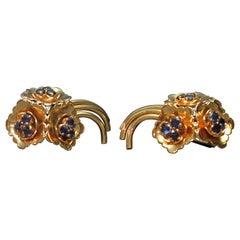 Kutchinsky Gold Sapphire en Tremblant Retro Earrings