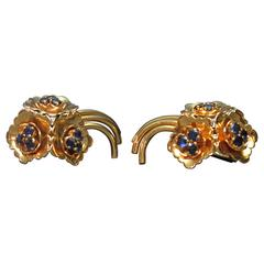 Kutchinsky Gold Sapphire En Tremblant Retro Earrings