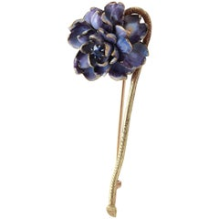 Antique Tiffany & Co. Enamel Sapphire Gold Flower Brooch