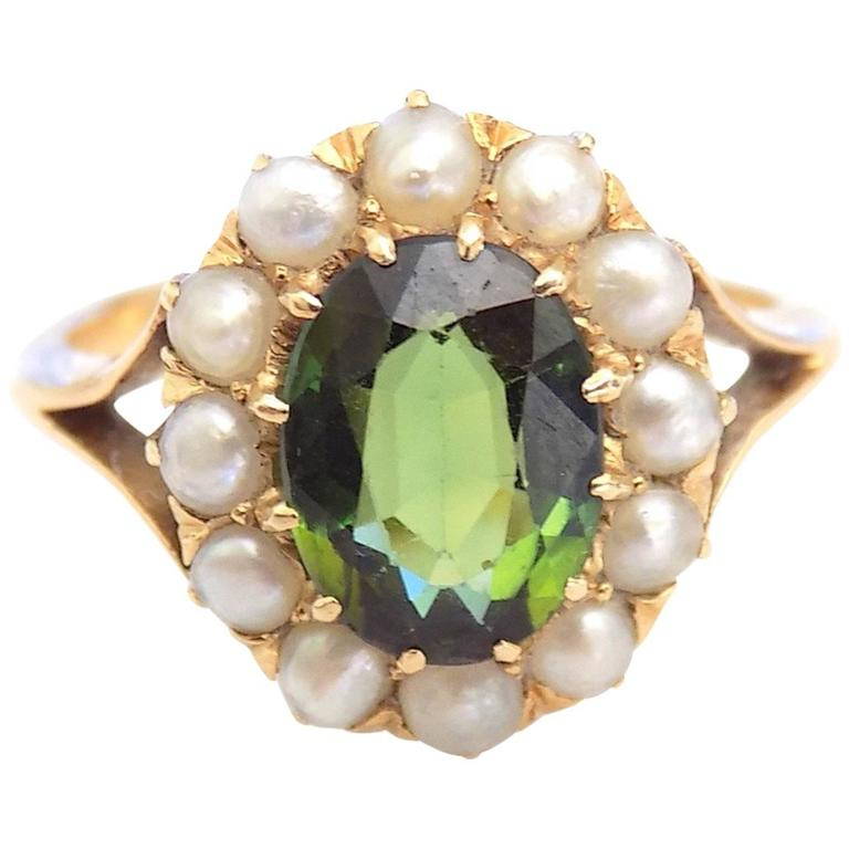 Antique Victorian Green Tourmaline Seed Pearl Gold Ring