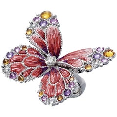 Stylish Cocktail Ring White Diamonds White Gold Multicolor Sapphires Micromosaic