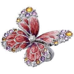 Sicis White Diamond Sapphires White Gold Micromosaic Butterfly Ring