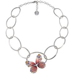 Sicis Papillon Royal Diamonds Sapphires Gold Micromosaic Necklace