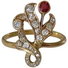 18K 1890s Art Nouveau Diamond Garnet Yellow Gold Ring