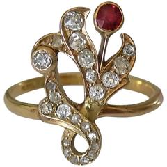1890s Art Nouveau Diamond Garnet Gold Ring