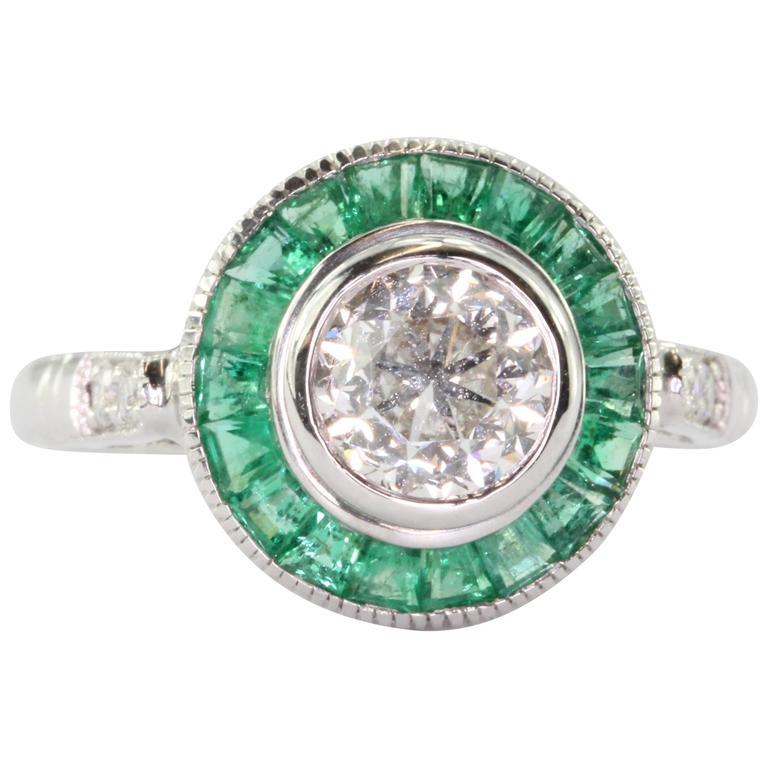 Emerald Diamond Gold Halo Engagement Ring
