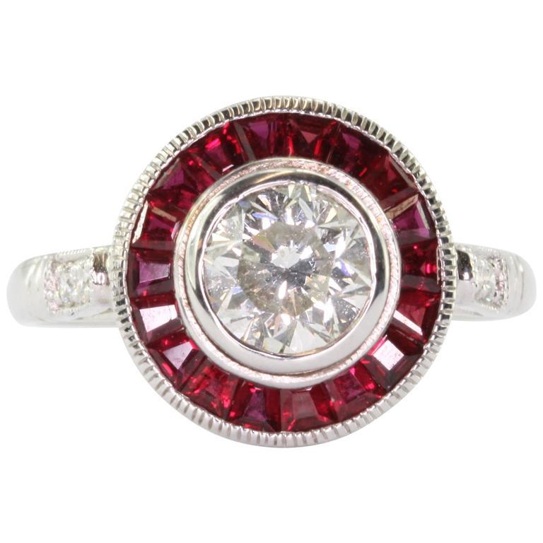 1 Carat Diamond Ruby Gold Halo Ring