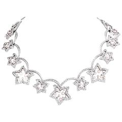 European  Diamond Pearl Flower Chocker Gold Necklace