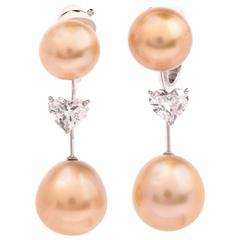 Stunning Golden Pearl 1.36 Carat Heart Diamond Clip-On Drop Earrings