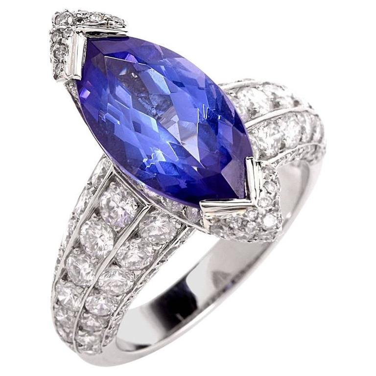 French 8.27 carat Marquise Tanzanite Diamond Platinum Ring For Sale