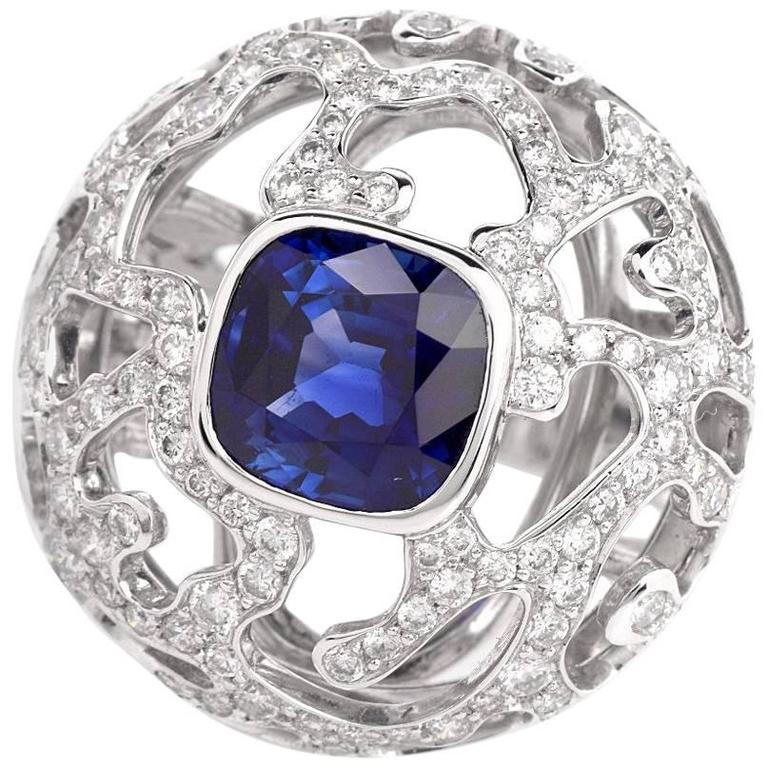 French 4.68 Sapphire Diamond  Cocktail Ring