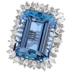 1960's Santa Maria Aquamarine Diamond Cocktail Ring