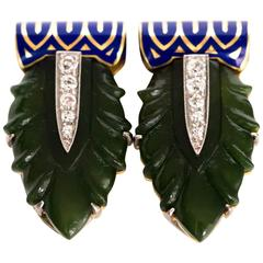 1920s Cartier Enamel Jade Diamond Two-Color Gold Dress Clips