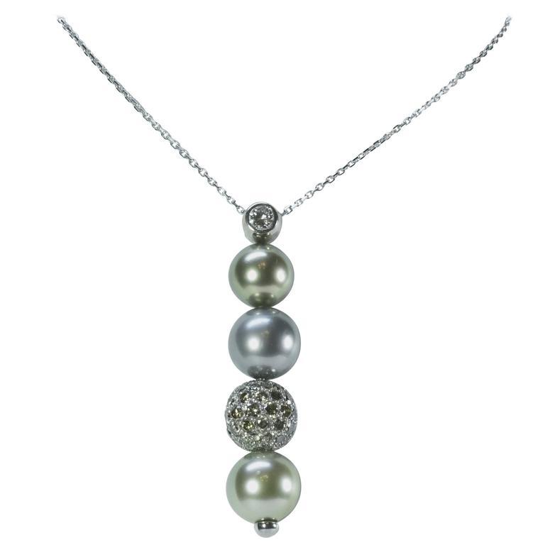 Marion Jeantet Tahitian Pearl Diamond Gold Pendant
