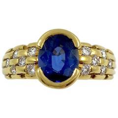 Ceylon Sapphire Diamonds Gold Ring