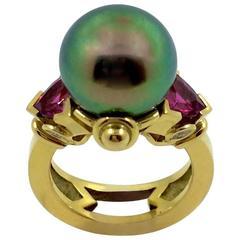 G. Minner Tahitian Pearl Pink Tourmaline Diamond gold Ring