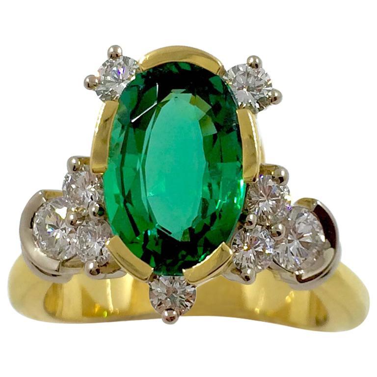 G.Minner Emerald Diamond Gold Cocktail Ring