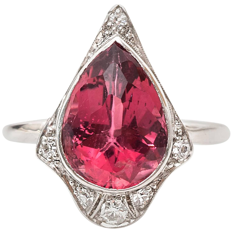 1920s Art Deco 3 Carat Tourmaline Diamond Platinum Ring