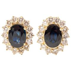 1970s Sapphire Diamond Gold Halo Earrings