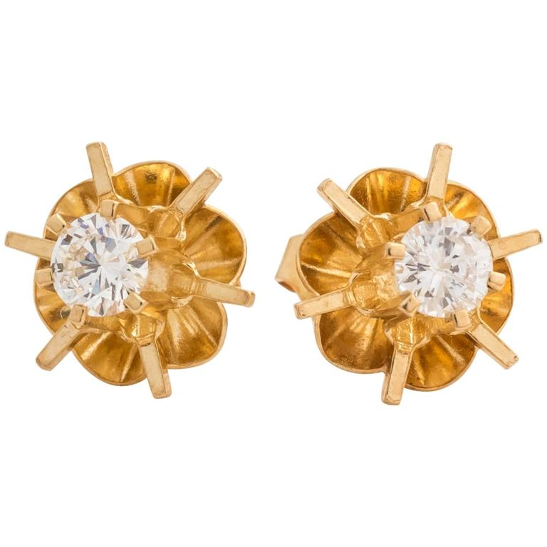 1950s Tulip Design Old European Diamond Gold Stud Earrings For