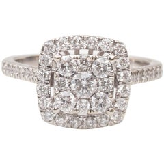 Cluster Diamond Halo White Gold Engagement Ring