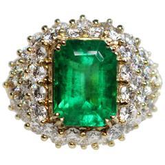 6.20 Carat Emerald Cut Emerald Ring Set With 5.20 Carats of Round Diamonds