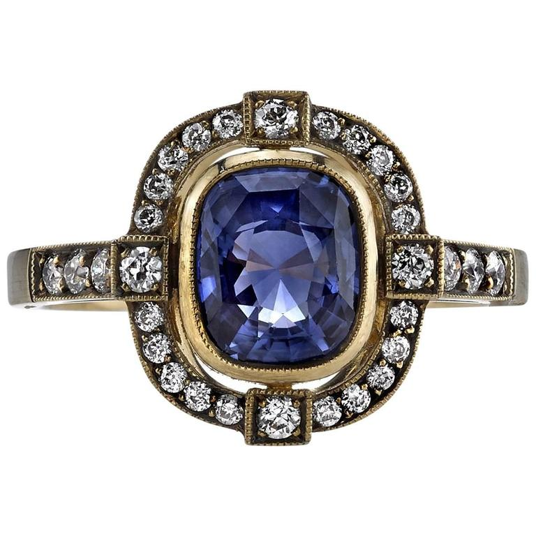 Sapphire and Oxidized Yellow Gold Engagement Ring