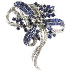Diamond and Blue Sapphire Brooch