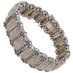 Retro Blue Sapphires Diamonds Gold Bracelet