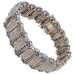 Retro Blue Sapphires Diamonds Gold Bracelet