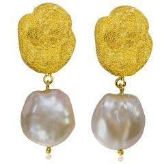 Pearl Silver Gold Textured Drop Dangle Clip-on Earrings Limited Edition Handmade