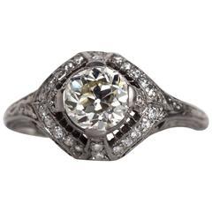 1910s Art Deco GIA Certified 1.01 Carat Diamond Platinum Engagement Ring
