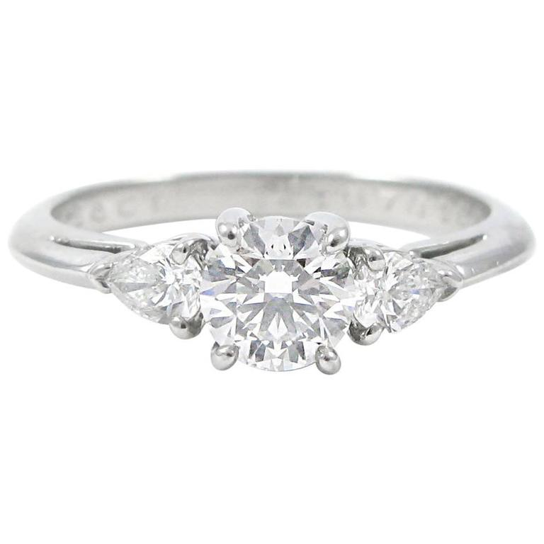 Tiffany & Co Three Stone  Diamond Platinum Ring For Sale