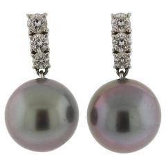 Mikimoto Tahitian Pearl Diamond Platinum  Earrings