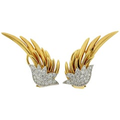 Tiffany & Co. Jean Schlumberger Gold Platinum Diamond Flame Earrings