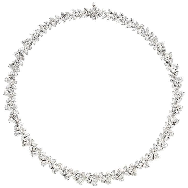 Elegant Marquise and Round Diamond platinum Floral Design Necklace